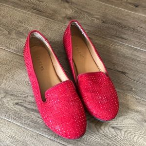 Red jeweled loafers